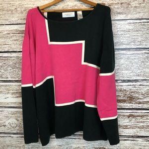 Liz Claiborne pink black Colorblock sweater 3X